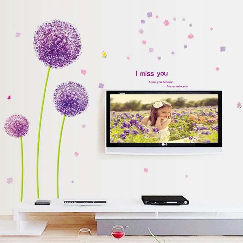 91935b18e88b9 Romance púrpura del diente de león de la pared para la sala sofá ventana de  vidrio TV Fondo pared decoración papel pintado
