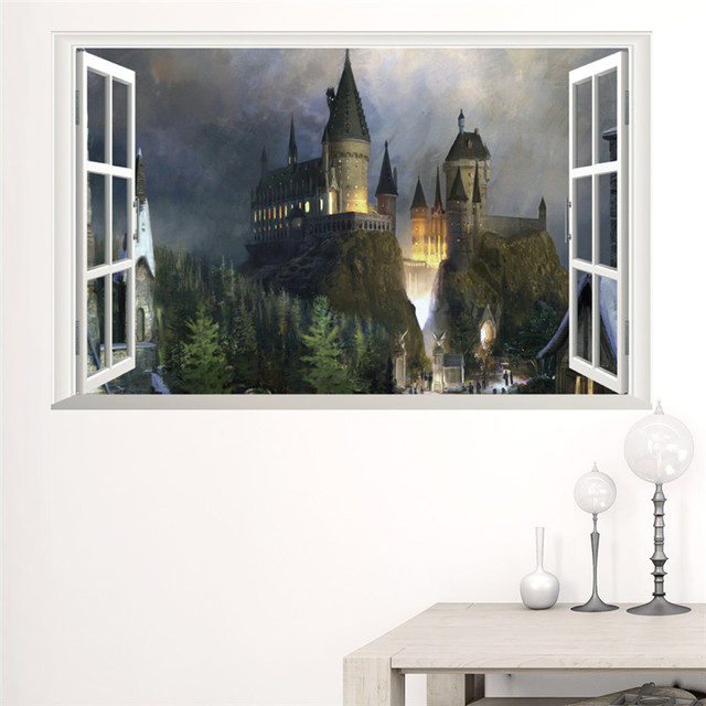Magic 3d Window Castle Wall Sticker Decal Harry Potter Landscape PVC Vinyl Wall  Decals Poster Mural