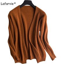 Lafarvie Autumn Winter V-neck Knitted Sweater Cardigan  Women Long Sleeve Loose Thick Comfortable Fashion Jumper