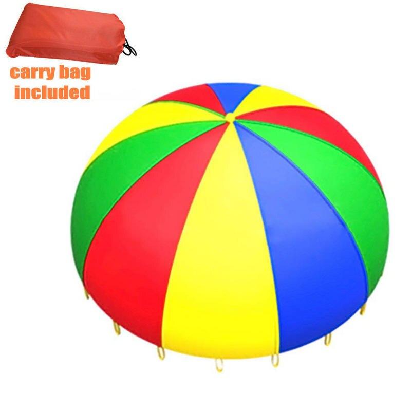 ითამაშეთ Parachute 19.7feet / 6meters with 28 სახელურები ბავშვთა თანამშრომლობის ჯგუფის თამაშით, სარჩელი 23-30 ადამიანისთვის Big Rainbow Parachute