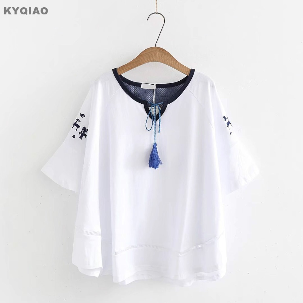 Women's Clothing Practical Kyqiao Lolita Shirt 2019 Women Autumn Winter Japanese Style Fresh Long Sleeve Stand Collar Blue White Solid Blouse Blusa
