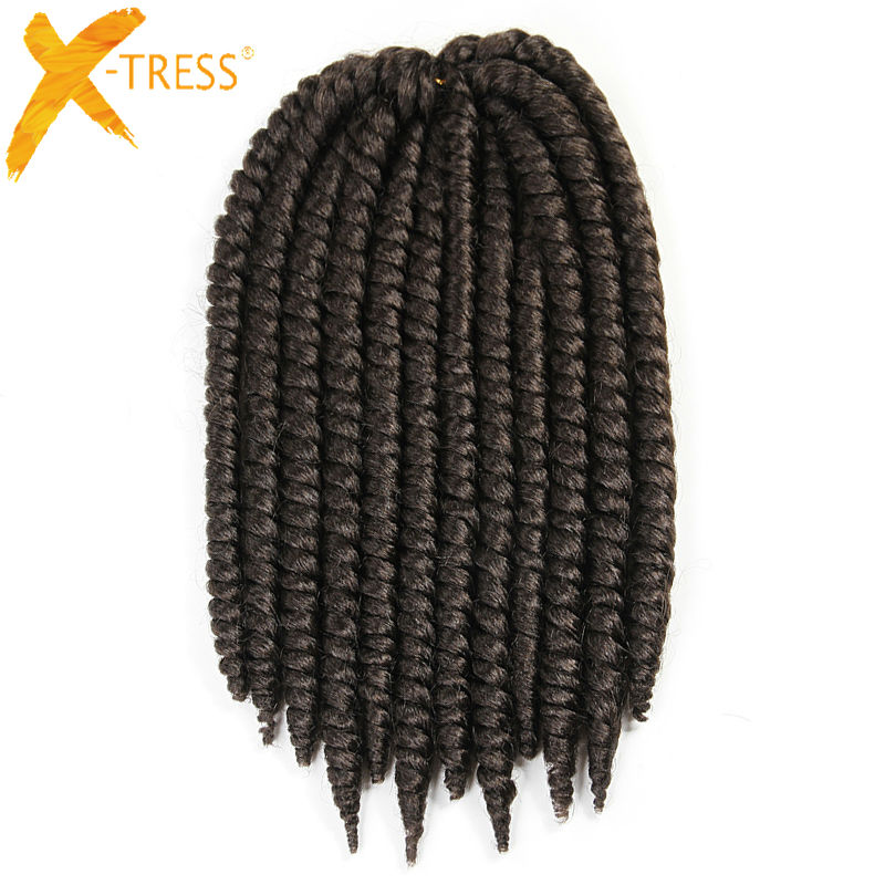 "Crochet Braids #4 Medium Brown Havana Mambo Twist Synthetic Braiding Hair Extensions 12 strands/pack 12"" 14"" 18 Colors X-TRESS"