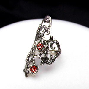 Image 5 - FNJ 925 Silver Flower Ring New Fashion Zircon MARCASITE Original S925 Sterling Silver Rings for Women Jewelry Adjustable Size