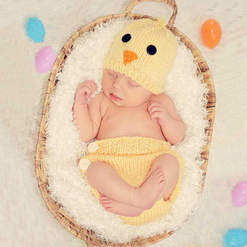Newborn Photography Props Accessories Baby Costume Photography Baby Chick Photo Infant Knitted Hat+Pants Set Baby Photo Props