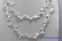 >>> >>>White Beautiful keshi reborn pearl long necklace 32INCH 7x8mm No Metalhandmade