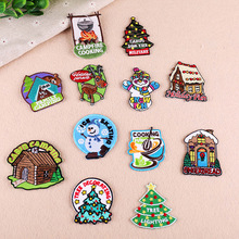 12pcs/lot Christmas series patches cloth iron on stickers badges DIY embroidered for jeans clothes decoration