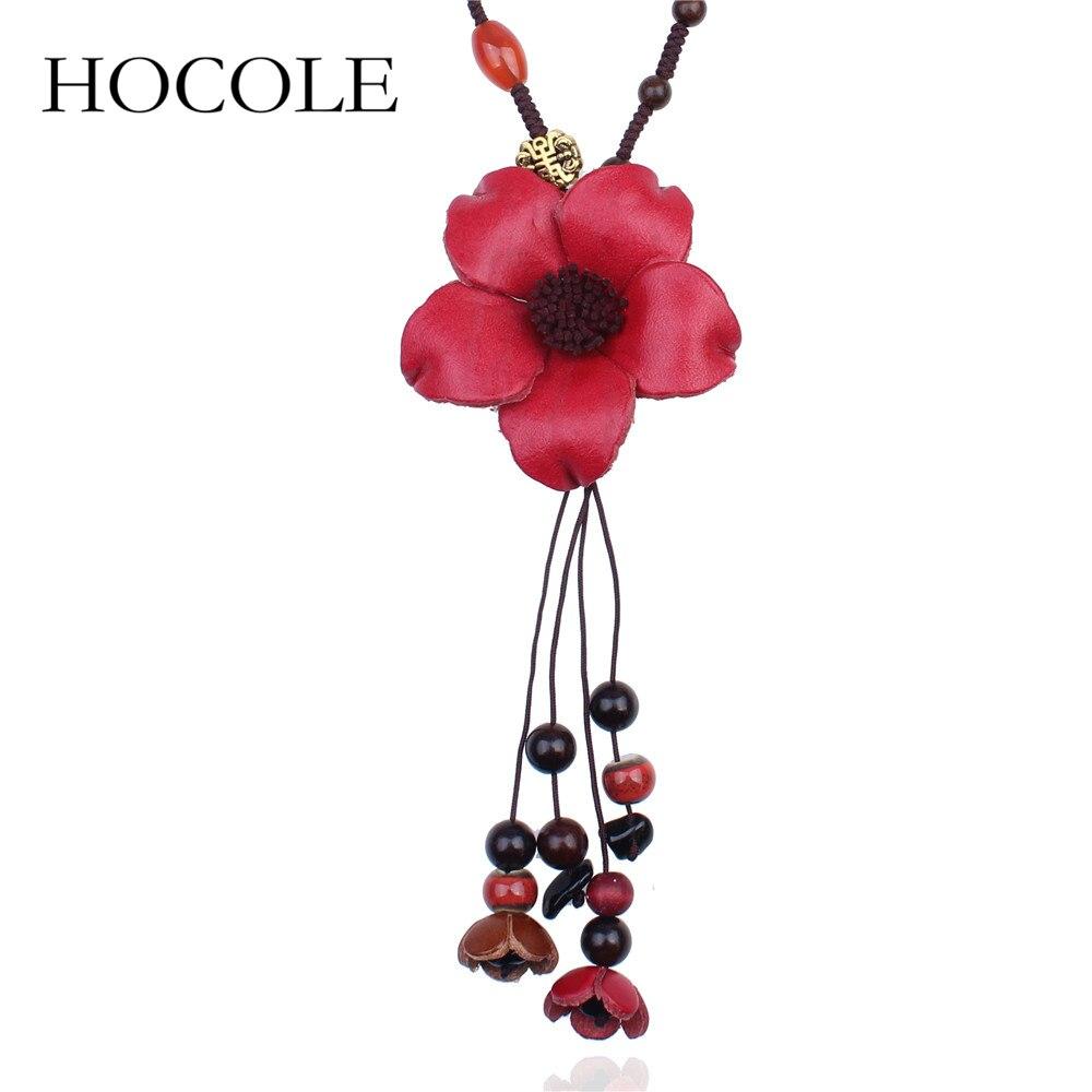 HOCOLE Bohemian Long Pendant Flower Necklace Women Wood Beads Flower statement Necklace Jewelry Wholesale Vintage bijoux femme alloy rose flower pendant necklace