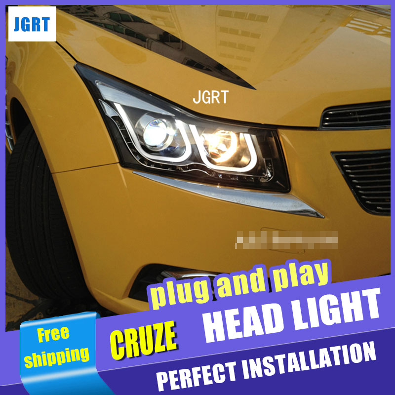Car Styling for Chevrolet Cruze Headlight assembly DoubleU Angel Eye LED DRL Lens Double Beam H7 with hid kit 2 pcs. hireno car styling headlamp for 1998 2002 bmw e38 728 730 735 740 750 headlight assembly led drl angel lens double beam hid xen