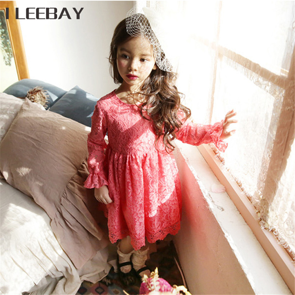 Autumn Baby Girls Party Dresses Kids Solid Color Flare Sleeve Princess Dress Children Lace Clothes Cute Costume Vestido Infantil