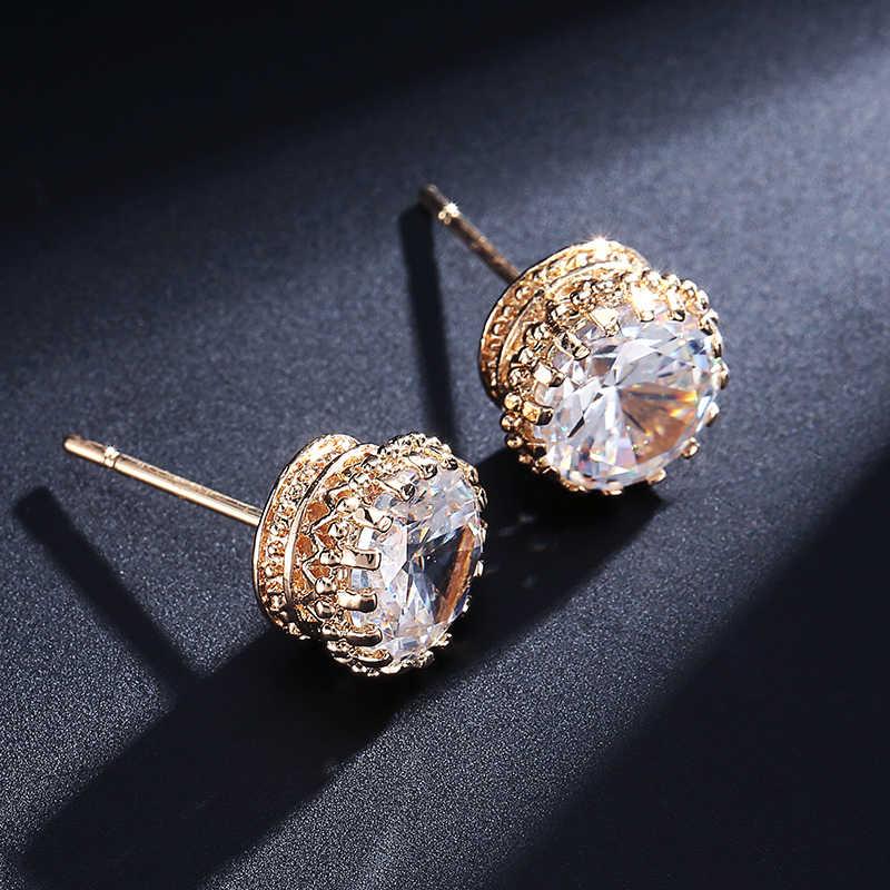 UILZ joyería de moda 8,0 MM pendientes de circonita cúbica redonda de 2 quilates para mujer boda UE056