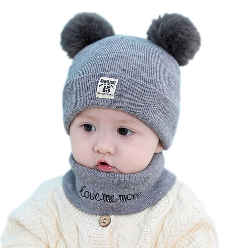 1ccacb01ee39f Baby kids girl beanie hat cap set with scarf for winter Warm Crochet Knit  toddler boy