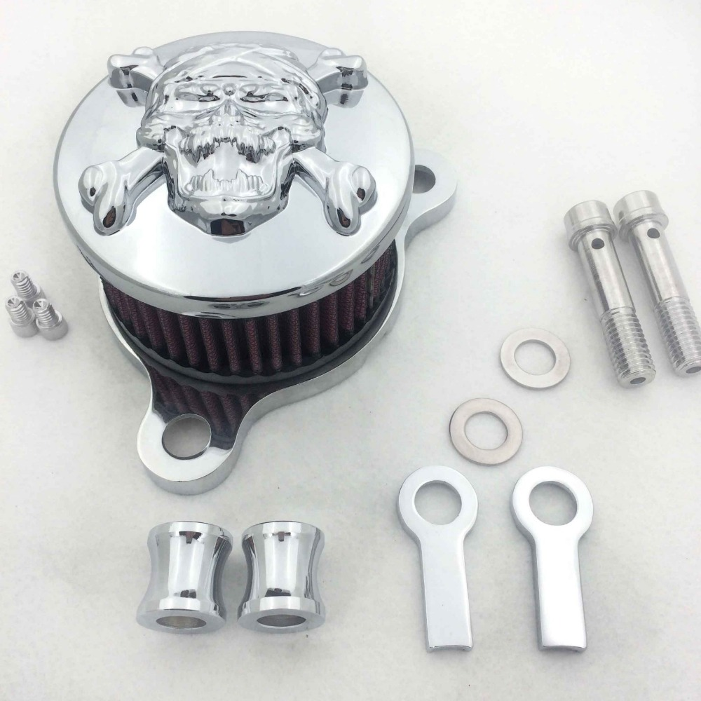 Aftermarket free shipping motor parts Air Cleaner Intake Filter System Kit For Harley Sportster XL883 XL1200 1988 2005 CHROMED