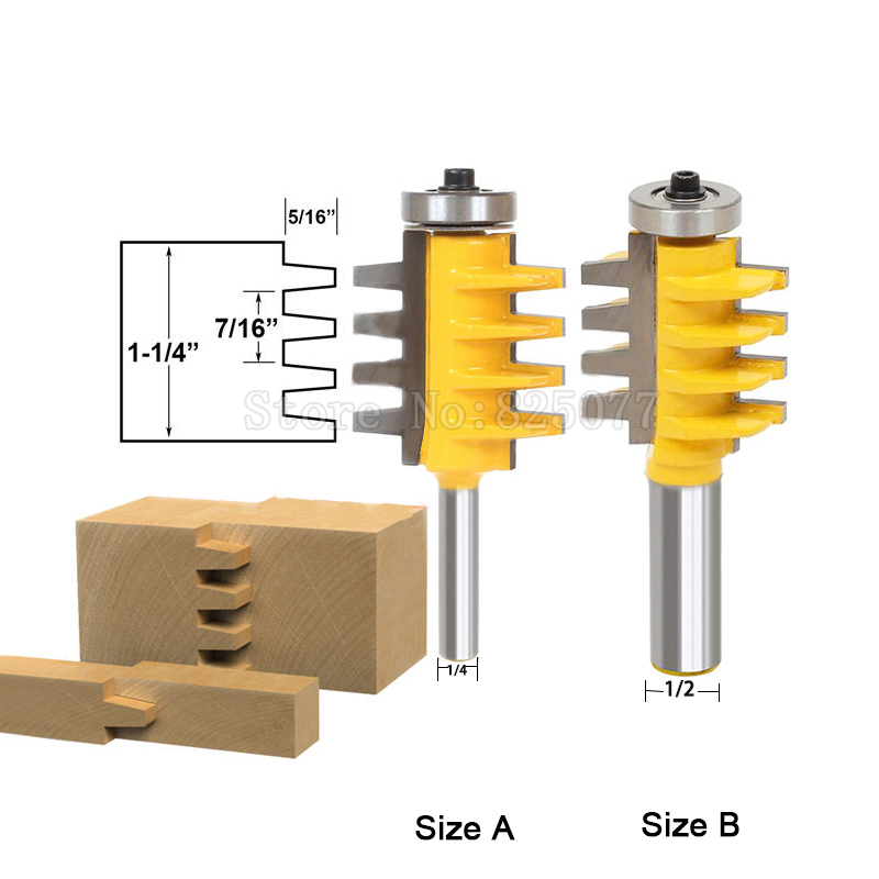 1PCS DIY Milling Cutter 1/2 or 1/4 Shank Rail Reversible Finger Joint Glue Router Bit Cone Tenon Woodwork Cutter Tools JF1478 high grade carbide alloy 1 2 shank 2 1 4 dia bottom cleaning router bit woodworking milling cutter for mdf wood 55mm mayitr