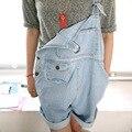 Lindo overol de mezclilla de las mujeres Del estilo Coreano ocasional del mono Flojo del bolsillo jeans shorts Envío gratis