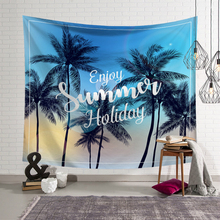 Tropical Bohemia Wall Hanging Tapestry Beach Coconut Tree Printed Macrame Hippie Towel Home Decoration Blanket