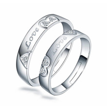 100% 925 sterling silver romantic love lovers`wedding couple rings women men finger ring jewelry wholesale gift drop shipping