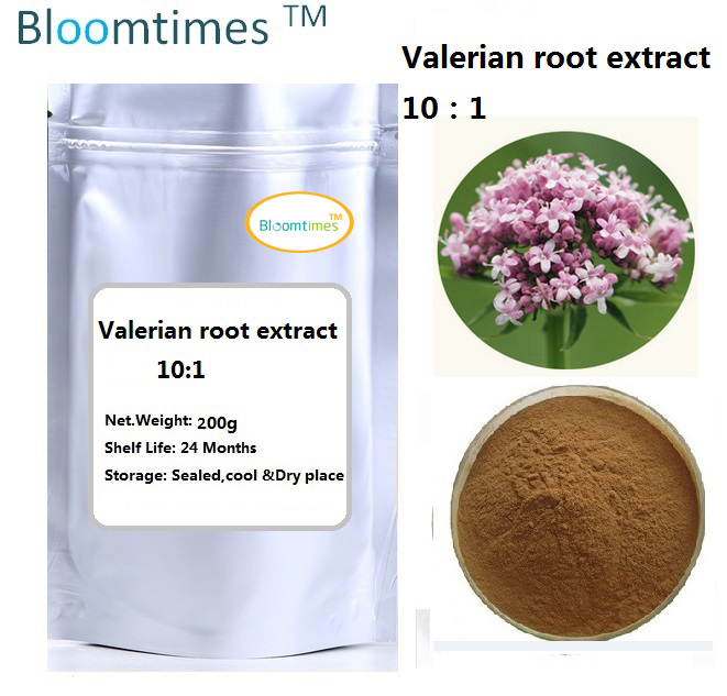 Free shipping Natural Valerian root extract 10:1  bulk powder 200g/bag wholesales price gmp manufacture natural cucumber extract powder 1kg bag free shipping