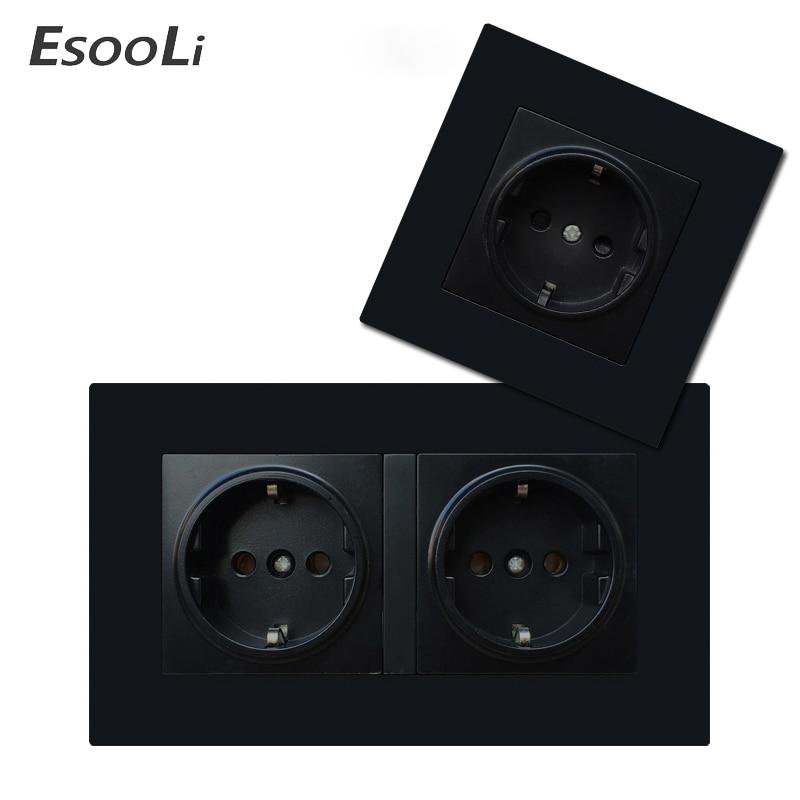 Европейская настенная розетка EsooLi, электрические розетки для умного дома, двойная 16 А, 250 В, зеркальная черная пластиковая панель