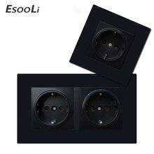 EsooLi  EU Wall Socket Plug Electrical Outlets For Smart Home Double 16A 250V EU Standard Power Socket Black Plastic Panel