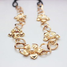 Newest  headband alloy gold  flowers hair accessories shining pearl hair jewelry for women alloy hair accessories