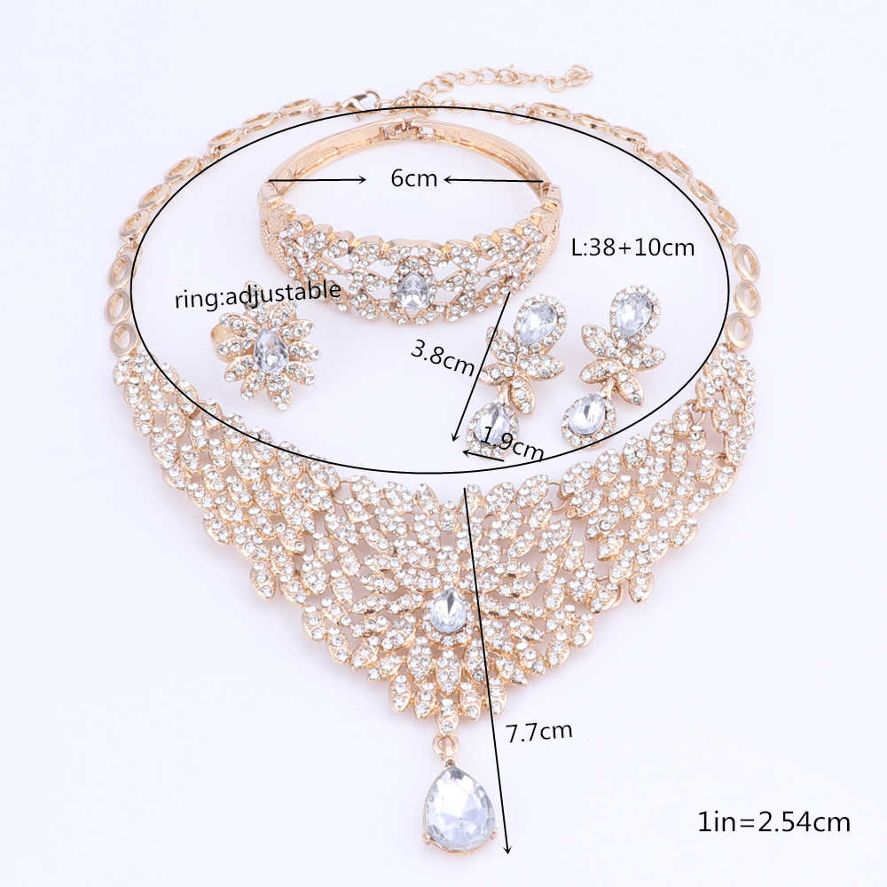 Mode Afrikanische Frauen Hochzeit Schmuck Sets Dubai Vintage Kristall Halsketten Armband Ring Ohrringe Schmuck Sets mit Geschenk Boxen
