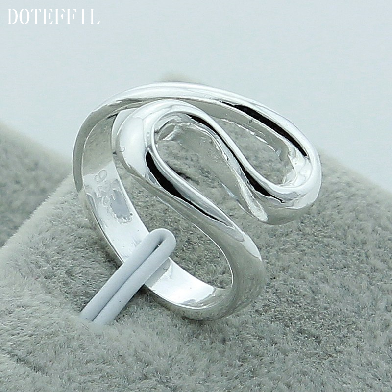 Free Shipping 925 Silver Color Rings Female Men's Fine Fashion Geometric Gift Silver Ring R044