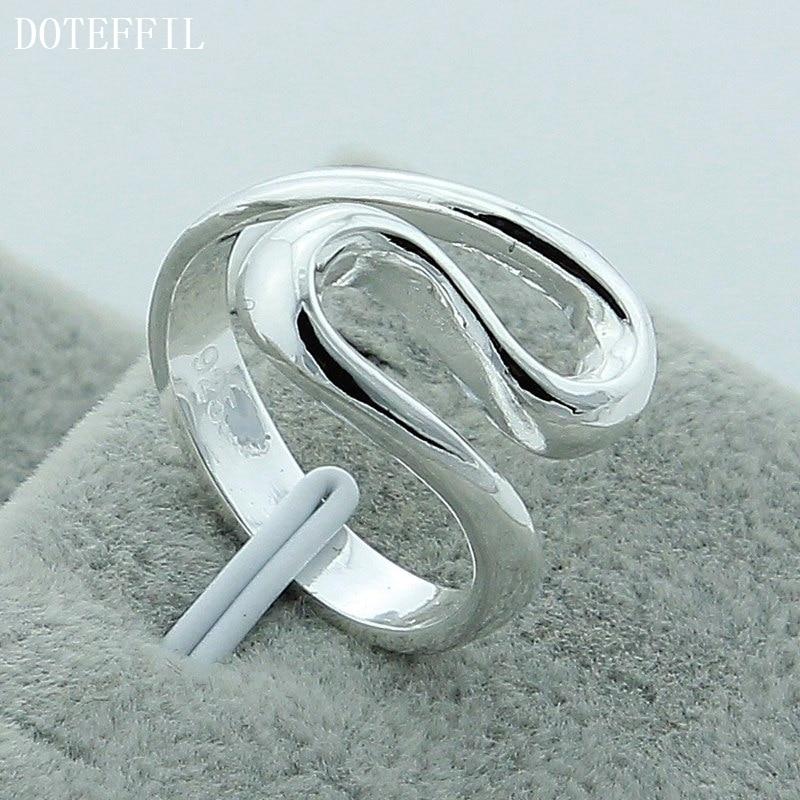 Freie silberne Farbe des Verschiffen-925 schellt feinen Art- und Weisegeometrischen Geschenk-Silber-Ring R044 der weiblichen Männer