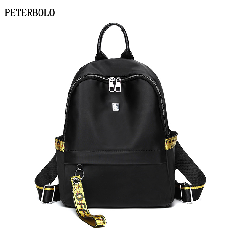 PETERBOLO New Oxford Women Backpack High Quality Casual Zipper Backpack Waterproof Ribbons Bags