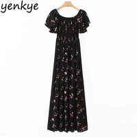 Women Sexy Off Shoulder Maxi Dress Short Sleeve Side Split Floral Printed Vintage Black Pleated Party Casual Dresses