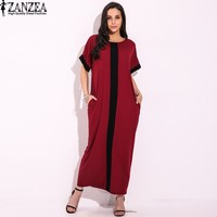 Vestido 2017 ZANZEA Women Casual Summer Oversized Plus Size Splice Stripe Patchwork Cocktail Long Maxi Dress