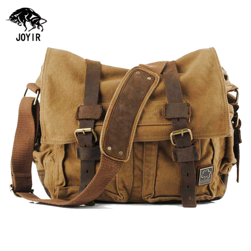 2017 Canvas Leather Messenger Bags Men Vintage Military Army Crossbody Bags School Laptop Shoulder Bags Casual Travel Bags Male military canvas shoulder bags vintage waterproof men messenger bags high quality school laptop bag big travel male crossbody bag