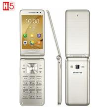 Оригинальный Samsung Galaxy Folder G1600 (2016) Dual SIM LTE Телефон 480×800 Quad Core 1.4 ГГц 16 ГБ ROM 2 ГБ RAM 3.8 «дюймовый Телефон
