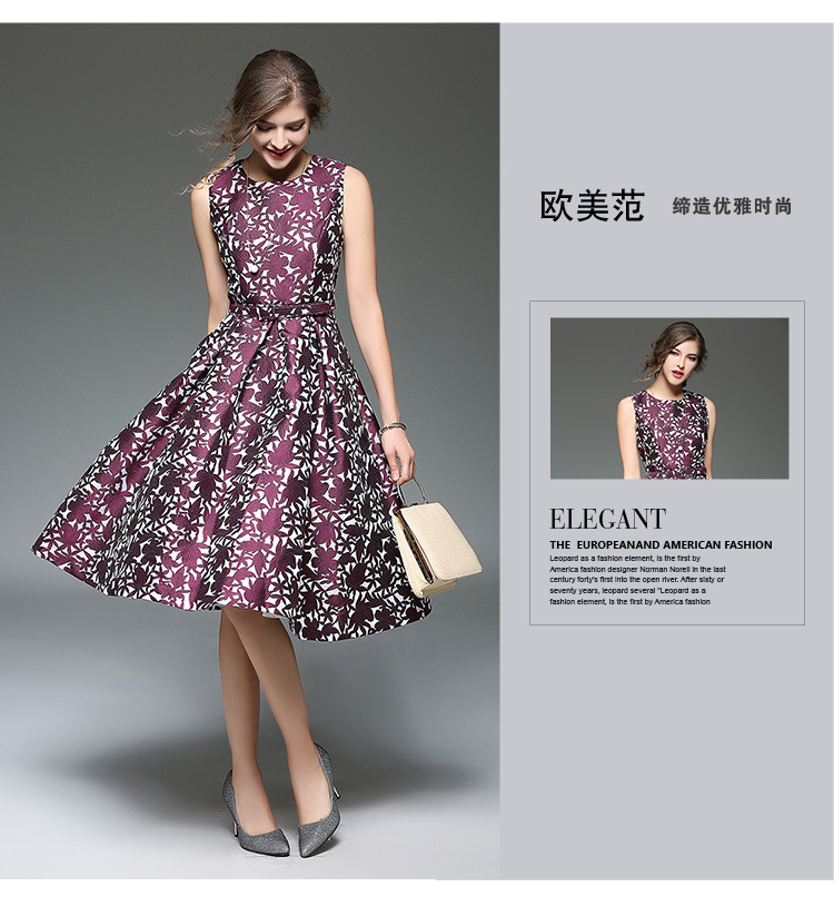 US $70 15  2017 Spring Clothes New Pattern Suit dress High end Sleeveless  Jacquard Weave Dress Fashion Thin Long Fund A A line Woman-in Dresses from