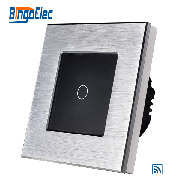 1gang 1way touch switch with remote function 433.92MHZ,silver aluminum and black glass panel remote switch, EU/UK ,Hot sale k1rf ltech one way touch switch panel ac200 240v input can work with vk remote