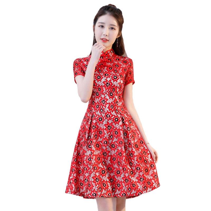 Dentelle nouveau chinois traditionnel femmes Qipao Vintage Oriental femme Cheongsam nouveauté chinois robe formelle taille M L XL XXL 3XL