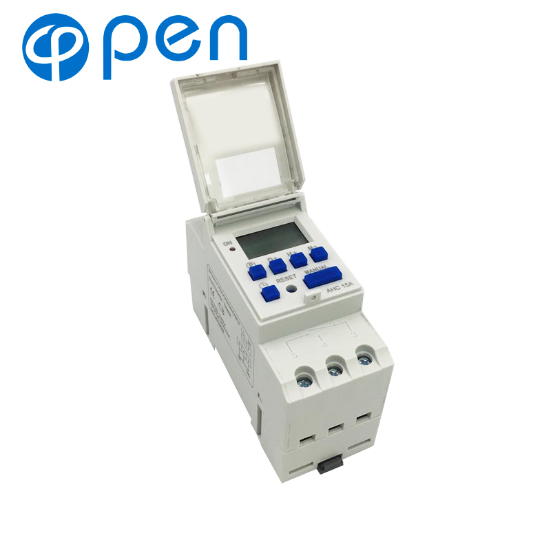 AHC15A DIN Rail Mounting Digital Programmable Timer Switch 220v For Street Lamp