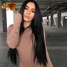 Black Color Lace Front Wigs With Baby Hair Unprocessed Brazilian Full Lace Human Hair Wigs Natural Hairline For Black Women