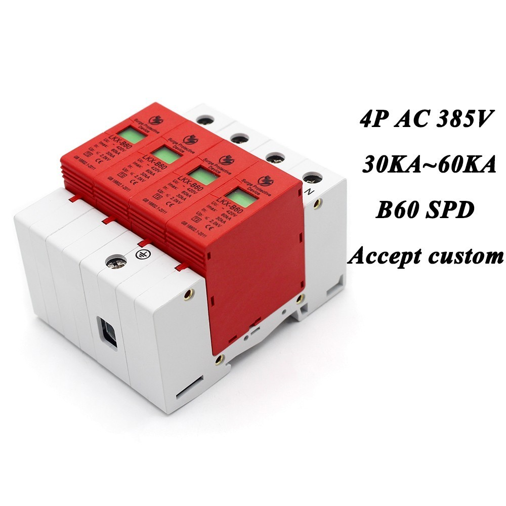 B60-4P 30KA~60KA ~385V AC SPD House Surge Protector Protective Low-voltage Arrester Device 3P+N Lightning protection 420vac spd 40 80ka 4p surge arrester protection device electric house surge protector lightning protection b