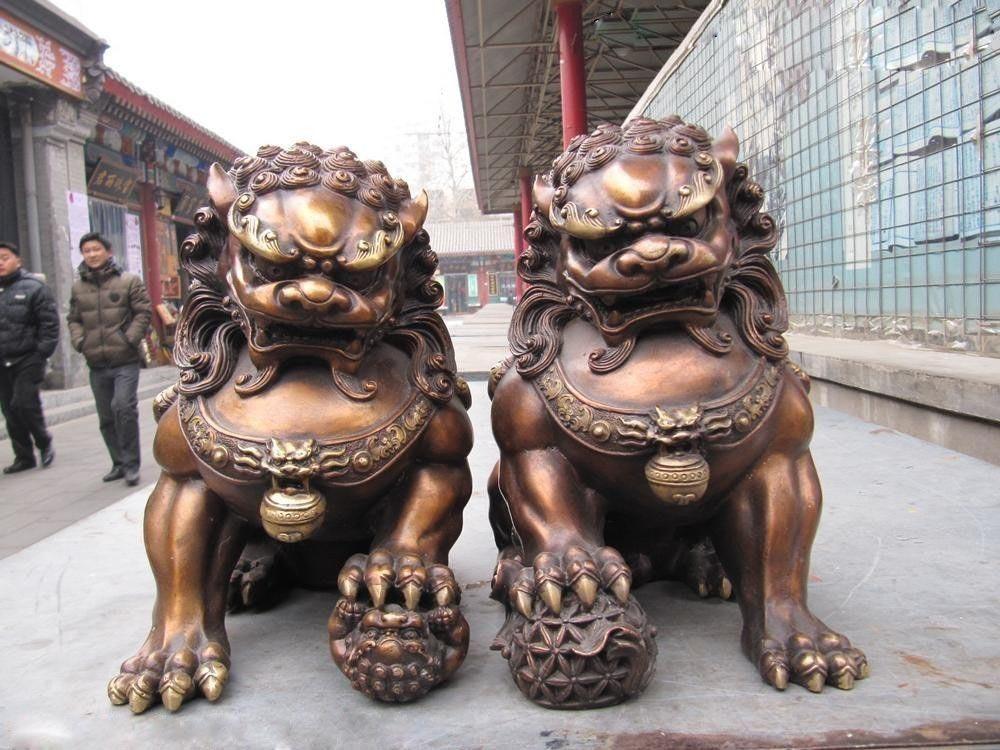 Китайский классический бронзовый Медь зло-хранитель дверь bei jing Фу Собака Лев Пара Украшения Статуи и скульптуры