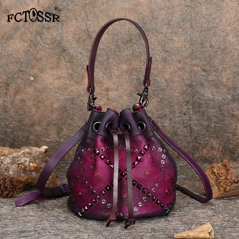 Vintage Female Rivet Bucket Fashion Women Messenger Bag With Handle Casual Shoulder Drawstring Lady Bag 2019