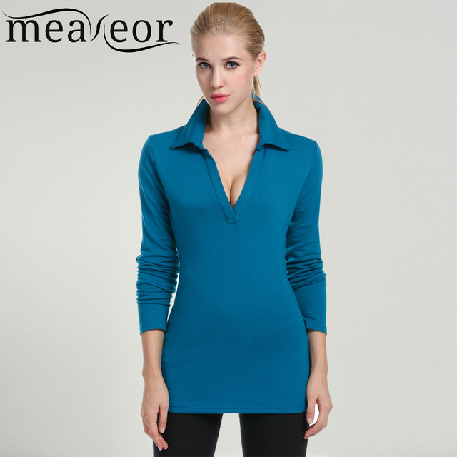 Meaneor Women's Casual Polo Shirt Without Collar Button 2017 Autumn V-Neck Lapel Long Sleeve Slim Fit Solid Polo Shirt Tops