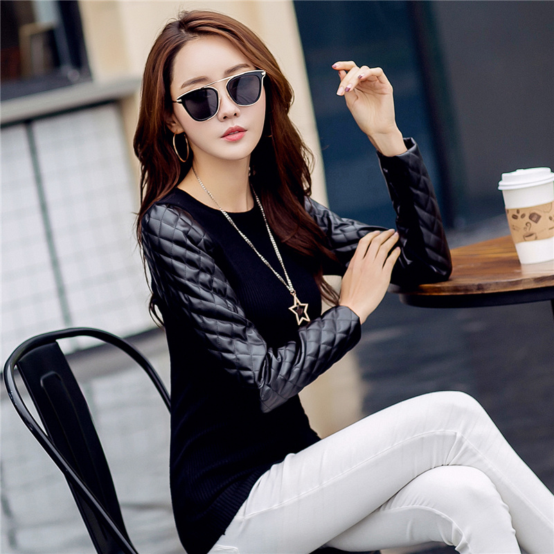 Womens Leather Sleeves Diamond Check PU Patchwork Sleeve Knitted Pullover Sweater Autumn Winter Thick Turtleneck Vest Sweater