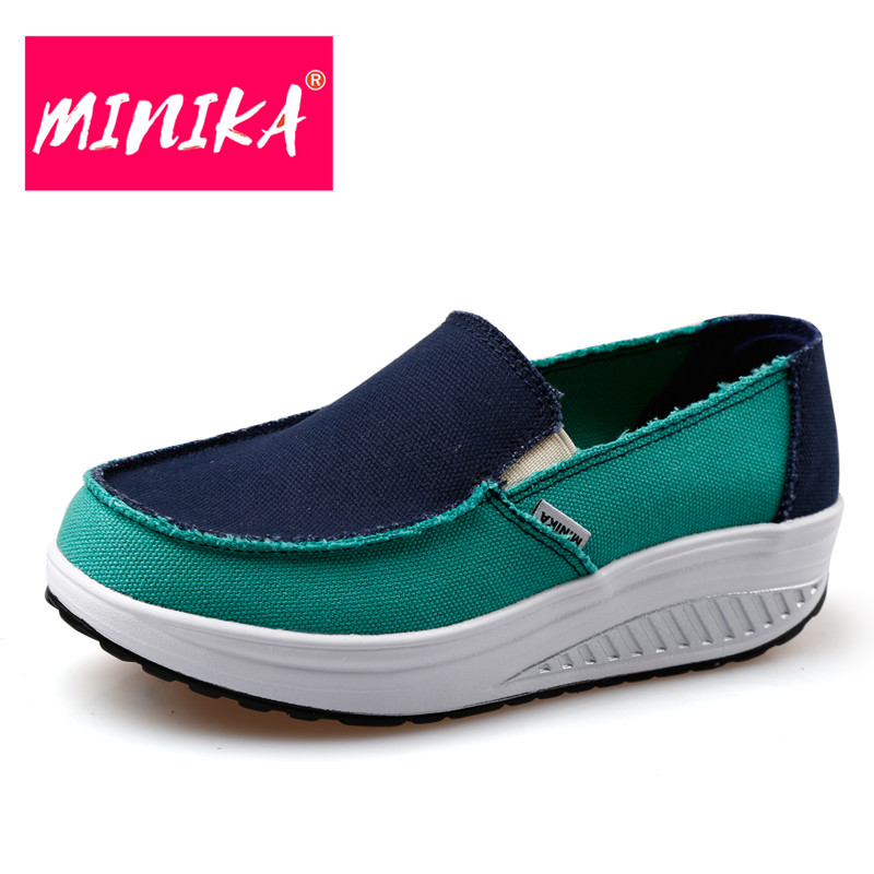MINIKA New Designer Flat Loafer Shoes Women New Arrival Women Patchwork Shoes Breathable Women Slimming Swing Casual Shoes minika soft