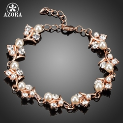 AZORA Gorgeous Rose Gold Color Clear CZ With Pearl Flower Bracelet TS0061