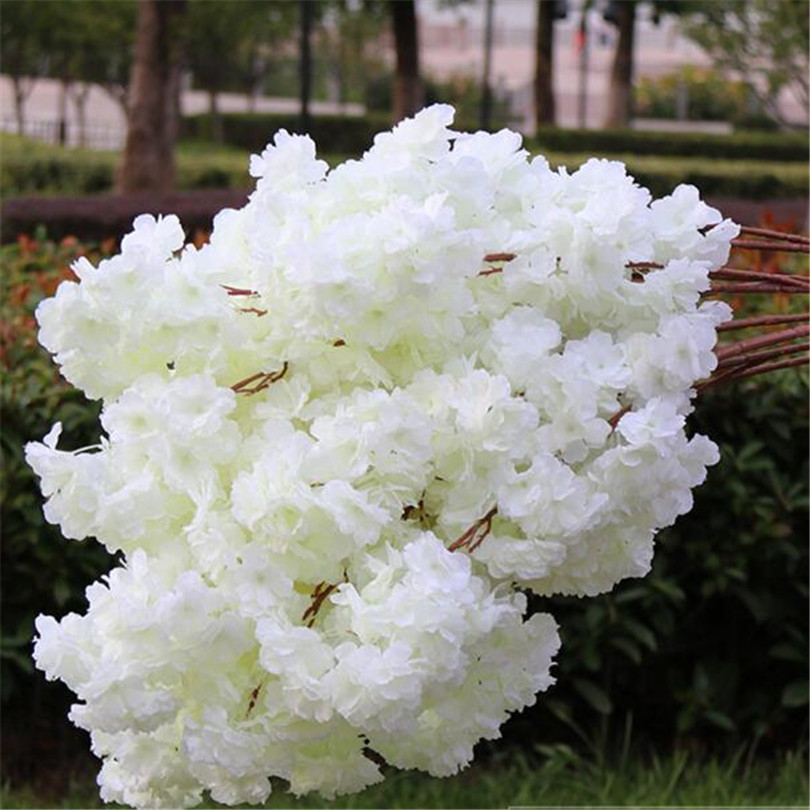 18pcs Artificial Cherry Blossom Branch Fake Sakura Flower Stem more flower heads 12 Colors for Wedding