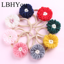 8PCS/LOT Newborn Baby Girls Sweater Nylon Headbands For .Toddler Elastic Bows Headwraps,Baby Hair Accessories