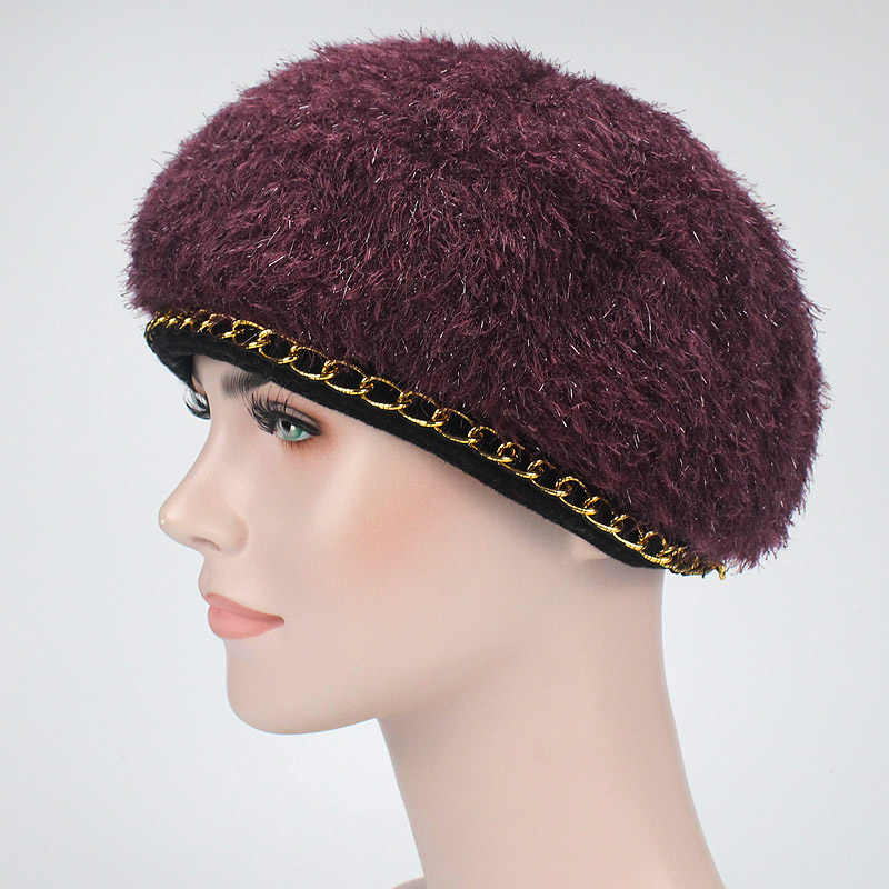 Для женщин Однотонные вязать берет Hat дамы французский художник Шапки Весна Повседневное осень-зима тонкий акрил береты для Для женщин Beanie