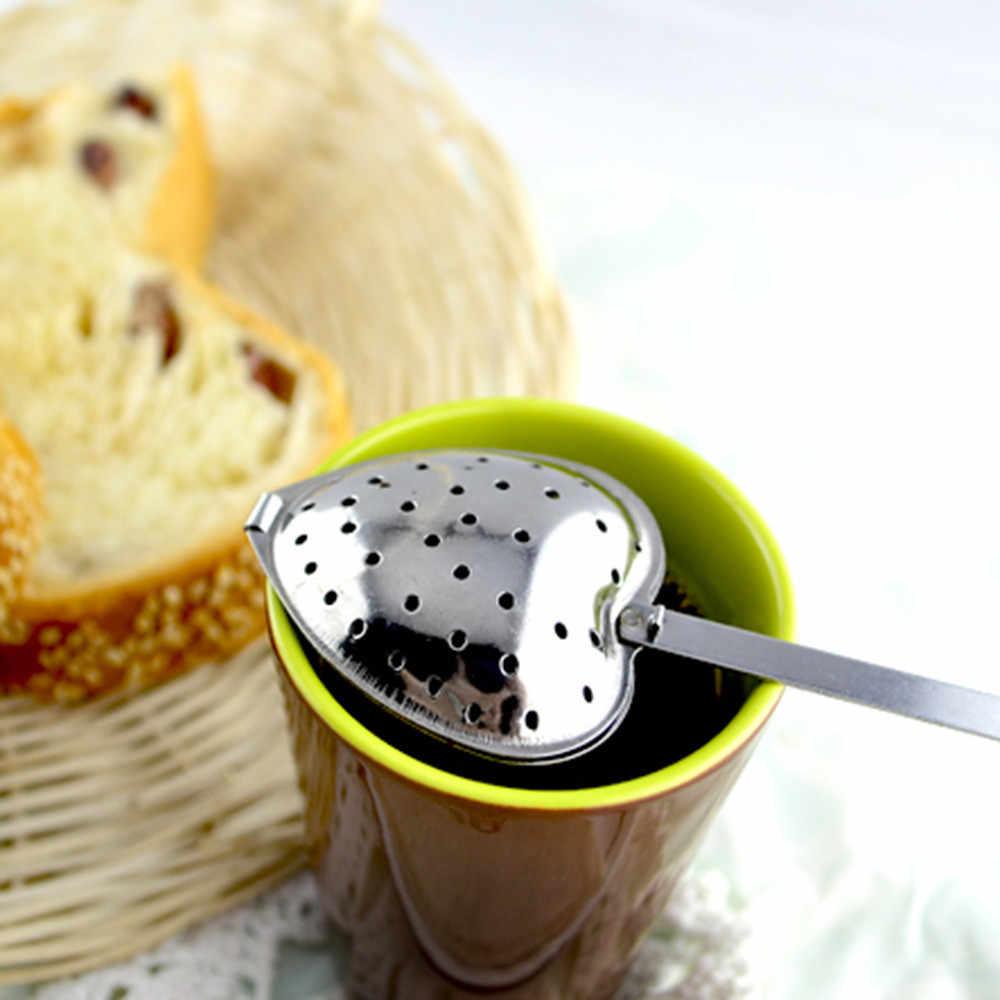ステンレス鋼ハート形のティーボール茶注入器葉スパイススチールストレーナーメッシュフィルター調理ツールキッチンアクセサリー Y