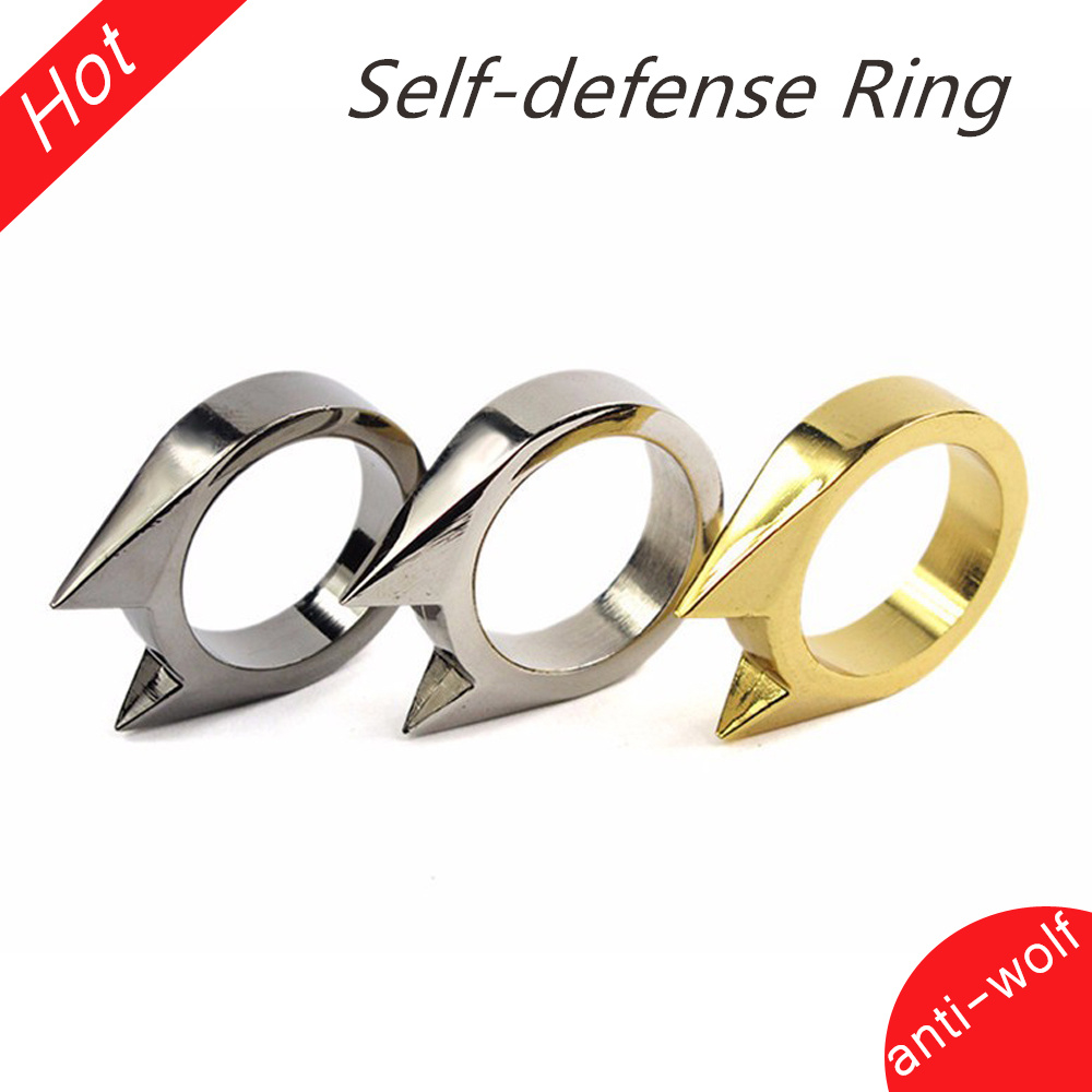 10pcs Cat Ear Mini Alloy Defensive Ring Self Defense Weapons Broken Windows Device Rescue Gear Portable Personal Protection Tool
