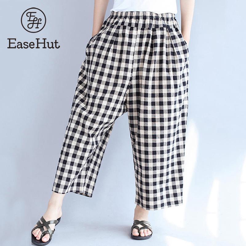 EaseHut Vintage Woman Loose Checkerboard Plaid Harem Trousers Elastic Waist Pocket Casual   Wide     Leg     Pants   2019 Oversized Pantalon
